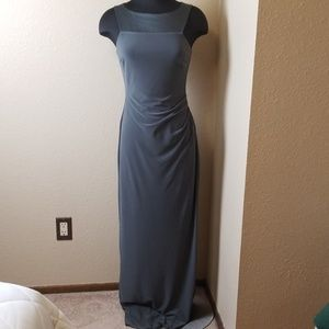 Ralph Lauren Gray Satin Trim Evening Gown